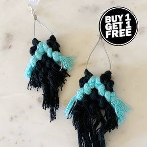 BOGO! Black & Blue Macrame Earrings